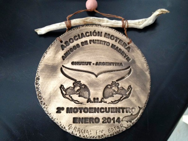 Our commemorative plaque making us honorary members of an Argentinian bikers' club.