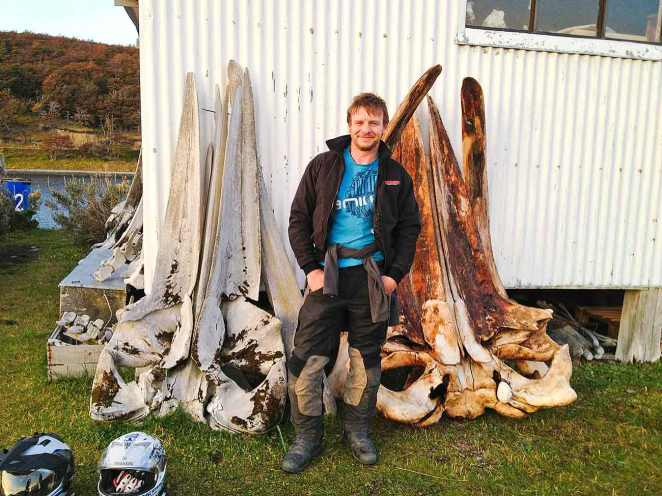Using Jason for scale against some whale skulls.
