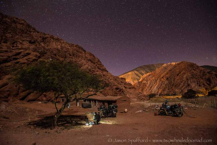 Laying down just the sleeping bags for a starry night in the desert, Purmamarca