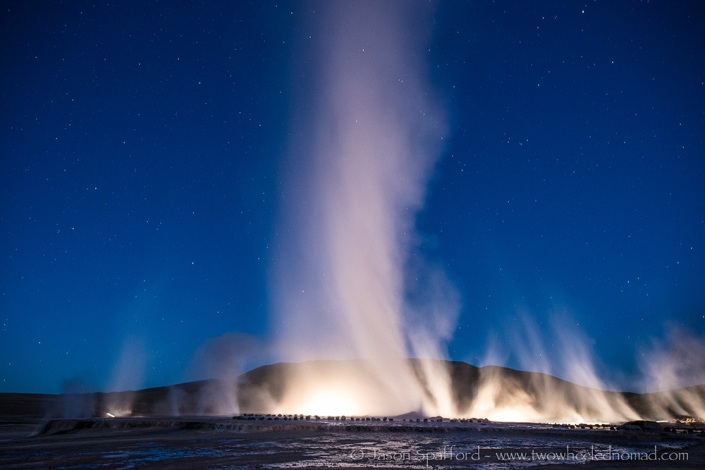 Geysers by night.