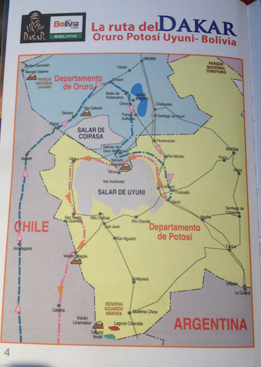 The Dakar route in and around Bolivia