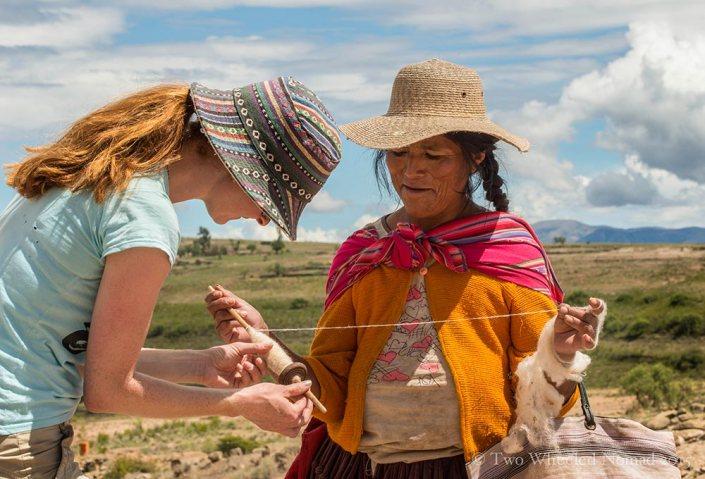 Spinning llama wool by hand