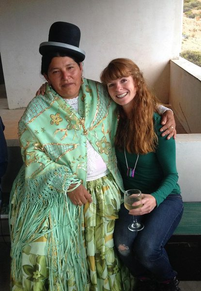 A traditionally clad Bolivian lady