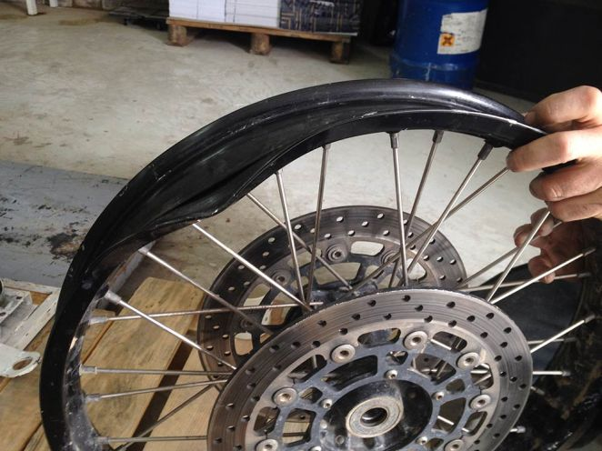Jason's chocolate front wheel rim