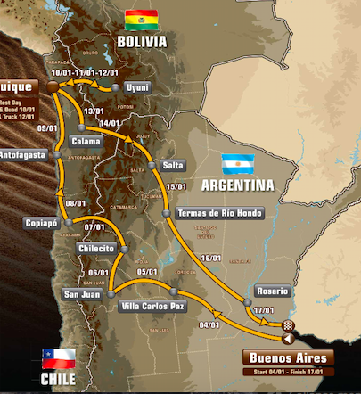 The gruelling 2015 Dakar route!