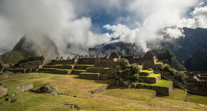 Overlooking the terraces, fields and temples at Machu Picchu.