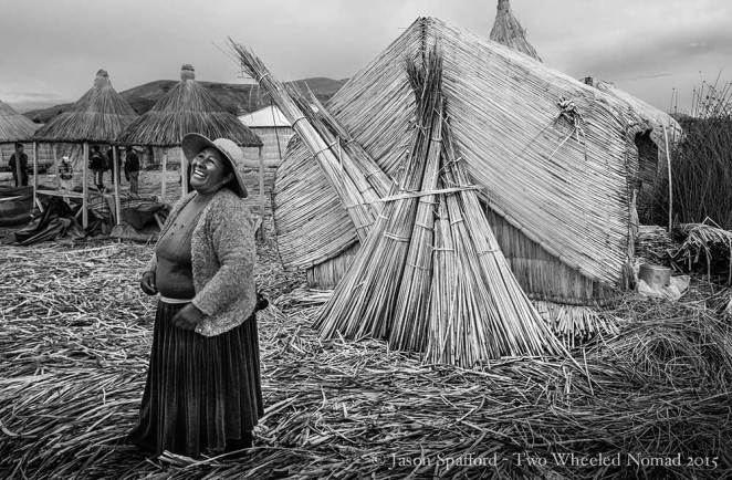A local Uros islander on the floating reeds