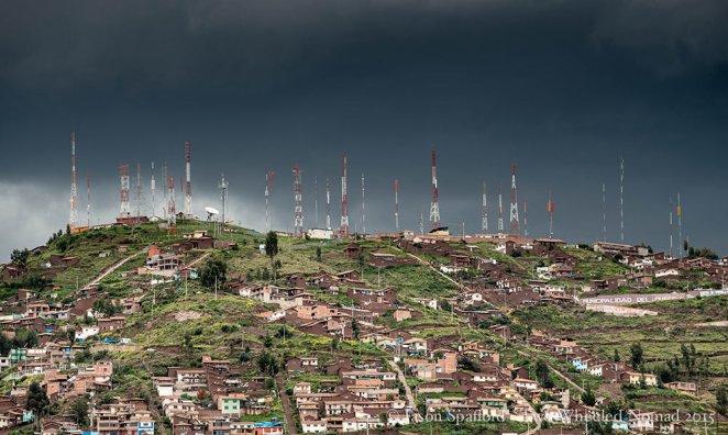Dramatic skies over Cusco in the rainy season.