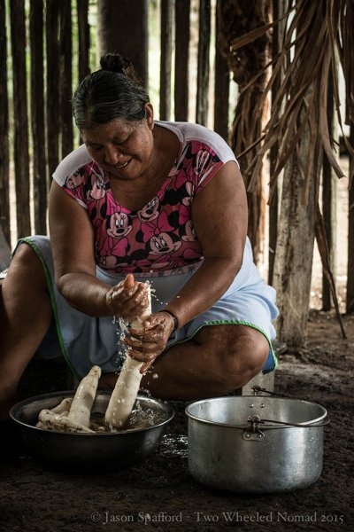 Initial preparation of making traditional yuca bread
