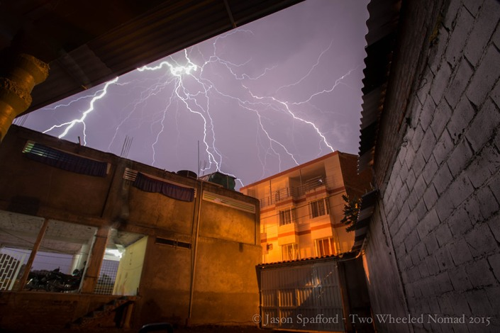 A mighty fine electric lightning storm above our heads in Tuluá