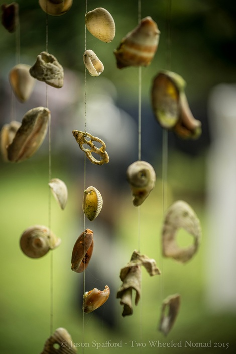 Maria's shell-adorned hanging mobile