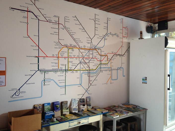 Castle Tam's lounge wall: the London tube map