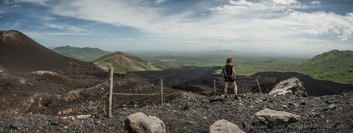 Scanning the crater-depressed landscape from Cerro Negro, Nicaragua