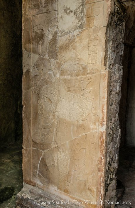 Exquisite detail restored in the pilasters at Palenque