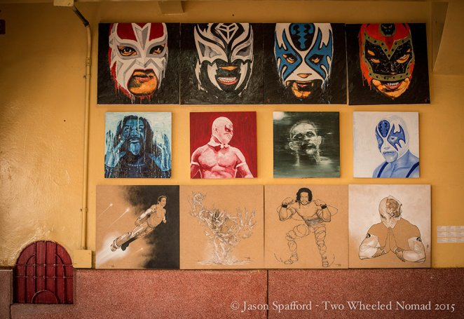 The crazy masks worn in the Lucha Libre.