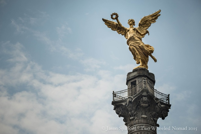 Angel of Independence standing majestically in Paseo de la Reforma, Mexico City Central