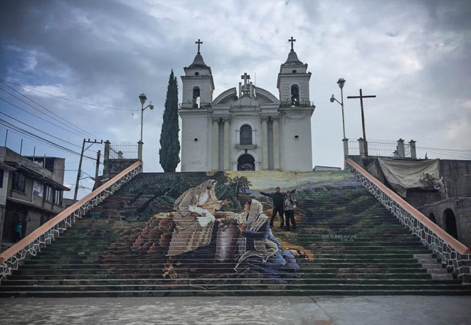 These steps were painted by a blind man (with some assistance), Calimaya near Toluca