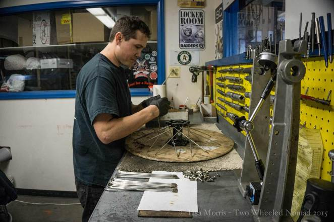 Jerod superlacing Jason's new front wheel...an art in itself
