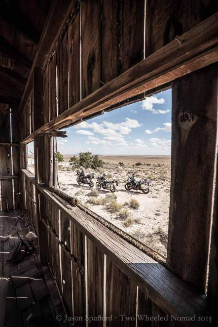 Inside an abandoned hut near Meteor Crater on the back trails