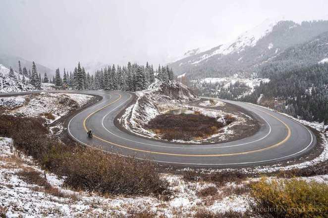 Enjoying the serpentine roads in Colorado
