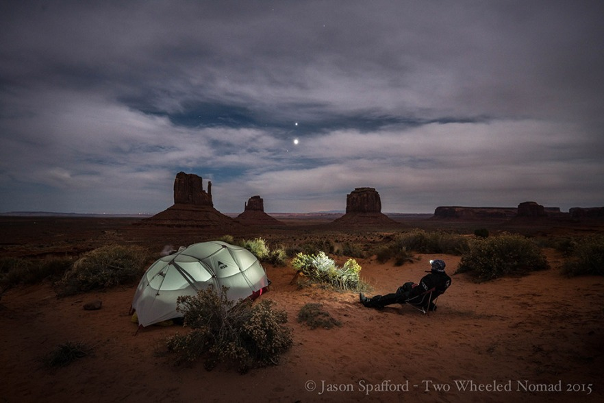 Looking up at Venus and Jupiter, Monument Valley