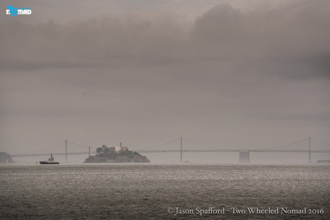 Alcatraz Island and the Bay Bridge, San Fran