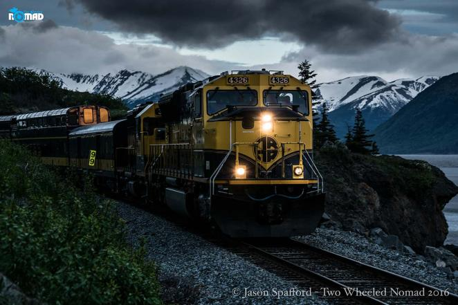 The local train chuffing through on its way to Anchorage.