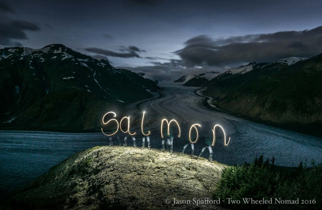 Practicing my calligraphy atop Salmon Glacier.